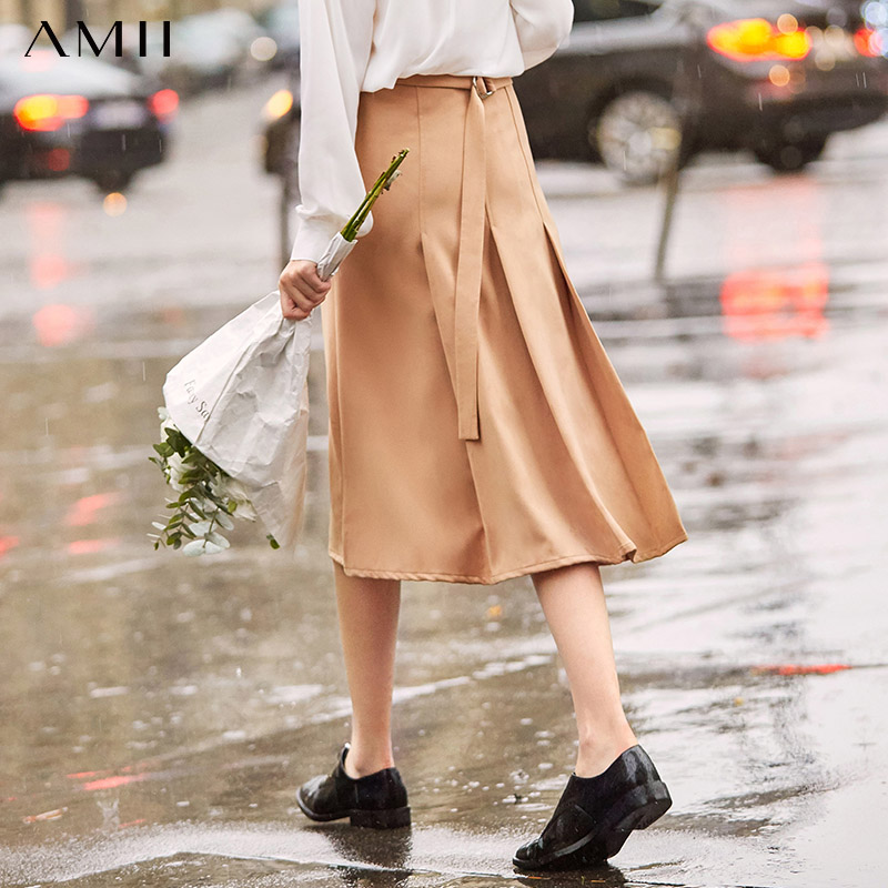 Amii Minimalist A-line Skirt Autumn Women High Waist Solid Pockets Loose Female Straight Skrit 11930043