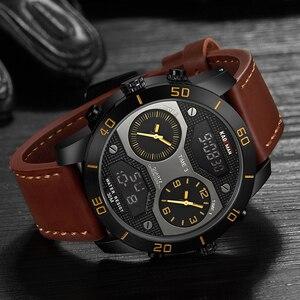 Image 3 - KADEMAN montre bracelet de luxe pour hommes à double affichage, numérique analogique, étanche, grand cadran, horloge de sport militaire