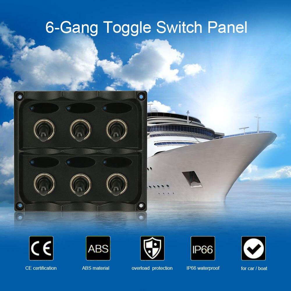 KKMOON panneau interrupteur à bascule étanche 12 V-24 V 6 bandes avec fusible indicateurs LED interrupteur bricolage