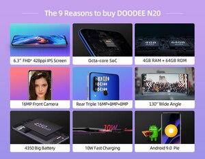 """Image 5 - Doogee N20 Handy 6.3 """"Waterdrop Bildschirm 16MP Triple Hinten Kameras 4350mAh 4GB + 64GB Octa core 10w ladung 4G Smartphone"""