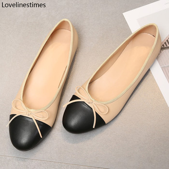 Ballet Flats Classic Shoes Women Basic 2021 Leather Tweed Cloth Two Color Splice Bow Round Shoe Fashion - discount item  40% OFF Women's Shoes