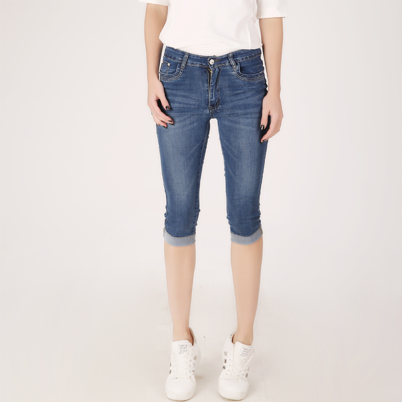 Summer Denim Skinny Women Capri Pants High Waist Cropped Trousers Slim Casual Pantalon Female Denim Capris Women Plus Size