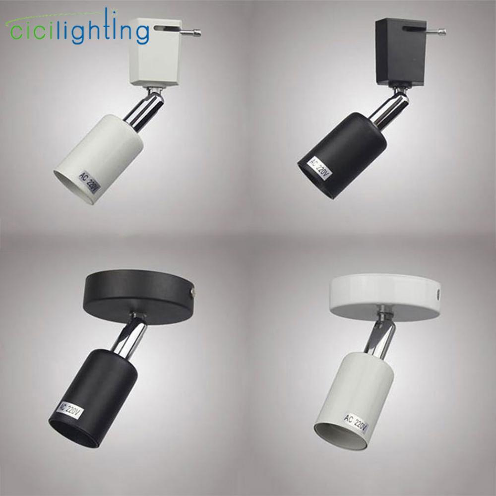 Loft Minimalist E27 Track Light Universal Connector Direction Adjusted Rail Spotlights Ceiling Mounted Track Lighting Fixture