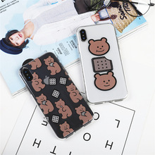 Cartoon bear chocolate cookie cute Phone case for coque iPhone 7 6s 8 6 Plus X XR xs max silicone cover