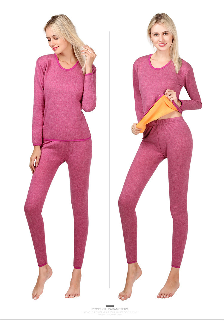 Two Piece Set Thermal Underwear Thick Women Warm Long Sleeves Top&Trouser Suits O Neck Long Johns Keep Warm For Ladies