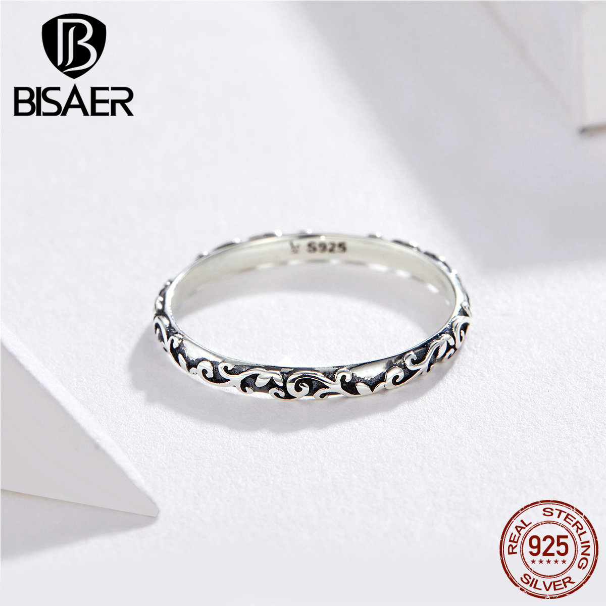 BISAER 925 Sterling Silver Vintage Rings For Women Retro Flower Finger Ring Luxury European Female Fashion Jewelry Bijoux GXR513