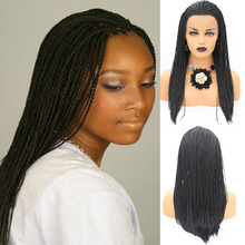 AIMEYA Black Wig 2x Twist Braids Synthetic Lace Front Wigs for Women Free Part Long Straight Wig Natural Hairline Heat Resistant adiors afro twist braids long lace front synthetic wig