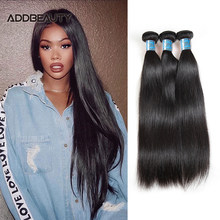 Peruvian Straight Unproccessed Raw Virgin Hair Weave Bundles Addbeauty Human Hair Weft for Women Double Drawn Natural Color(China)