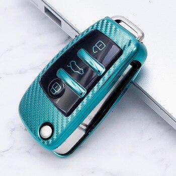 цена на 2020 TPU Carbon fiber car key case For Audi A1 A3 A4 A5 Q7 A6 C5 C6 Key Cover Case Remote Folding Shell Accessories smart key