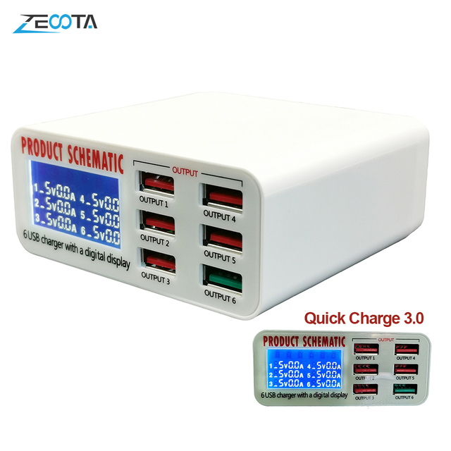 USB концентратор с 6 портами и светодиодным дисплеем, 30 Вт, 5 В/6 А