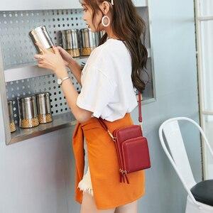 Image 5 - Sac à bandoulière étanche à fermeture éclair pour femmes, sac pour téléphone pochette en cuir synthétique polyuréthane solide, sac pour cartes, portefeuille, rangement de 3 couches pour Sport en plein air