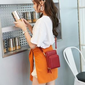 Image 5 - Women Crossbody Bag Phone Bag Zipper Waterproof Solid PU Leather Clutch Bag Card Bag Wallet Bag Outdoor Sport 3 Layer Storage