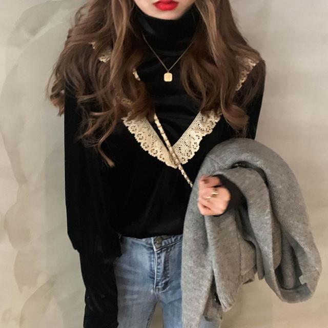 Sllsky Lace Ruffle Patchwork Women Velour Blouse Vintage Long Sleeve Half High Collar Shirt 2020 Autumn Winter Basic Blouse 3