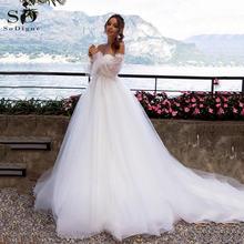 Свадебное платье 3d Цветы Кружева Аппликация с открытыми плечами