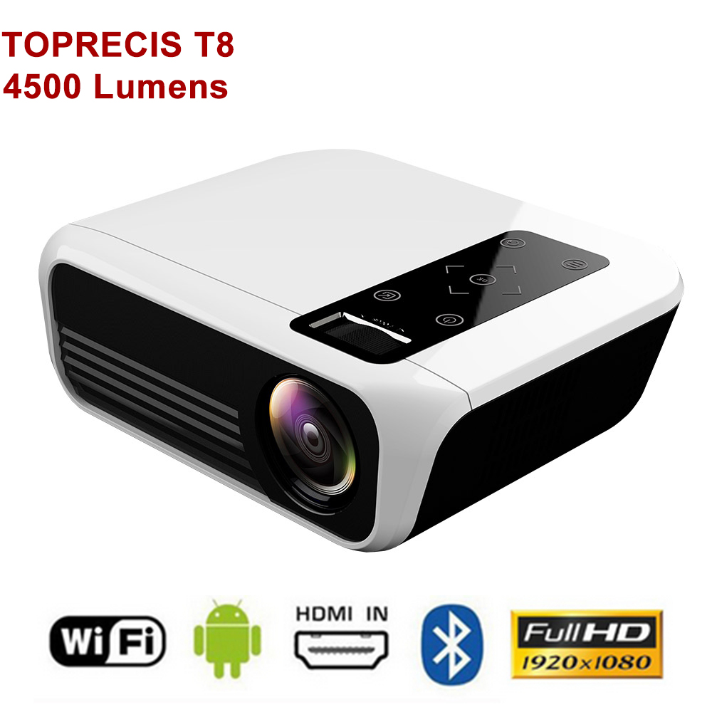 TOPRECIS T8 4K Projector  Full HD 1080p Android 4500 Lumens WIFI Bluetooth 2G 16G LCD Home Theater Projector Media Video Player