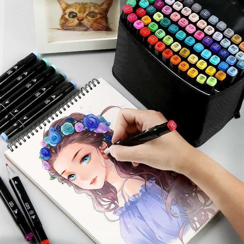 Mehrfarben Dual Tip Art Marker Pen-Set Textmarker Malerei Zeichnung Schule Lieferungen Schreibwaren Büro Marker Farbe Stift 04363