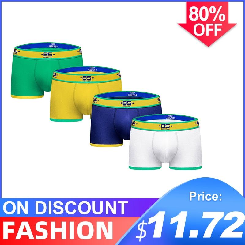 4Pcs/lot CMENIN New Brand Cotton LOGO Breathable Underwear Mens Boxer Homme Trunks Boxer Men Undeware Boxers Freegun BS180