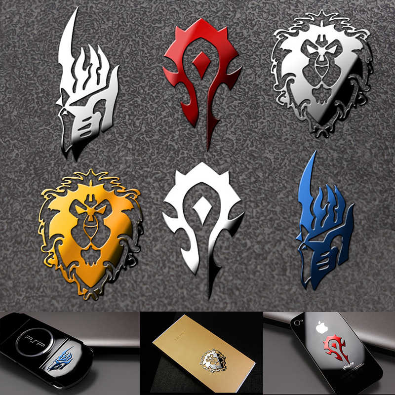 World Of Warcraft Stiker Logam Cosplay Prop Ponsel Kulkas Laptop Sticker