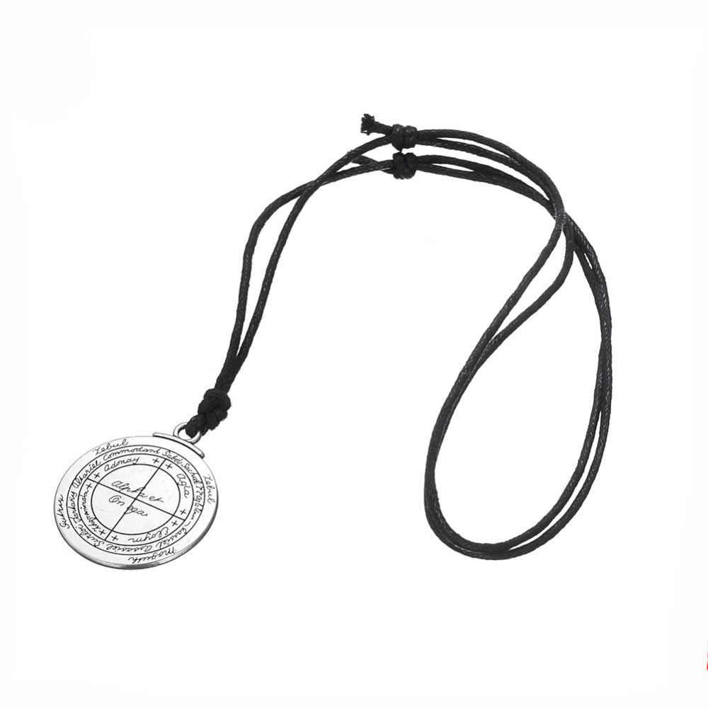 Powodzenia salomona pentagram Seal naszyjnik dla mężczyzn chłopiec dwustronna talizman biżuteria amulet prezent