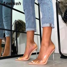 Aneikeh 2020 Concise Fashion PVC Woman Transparent Sandals Thin High Heels Shoes Pointed Toe Pumps Slip On Solid Apricot 41 42