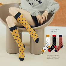 Autumn Socks Heart Print Women New Fashion calf Midi Winter Long Cotton Happy Students  Stocking