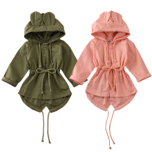 6M-5Years Kids Toddler Baby Girls Trench 3D Ear Hooded Tops Coat Hooded Jacket O