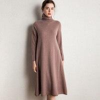 Women Dress Hot Sale Longer 100% Pure Goat Cashmere Knitted Dresses Winter/Autumn 4Color Turtleneck Loose Ladies Jumpers Clothes