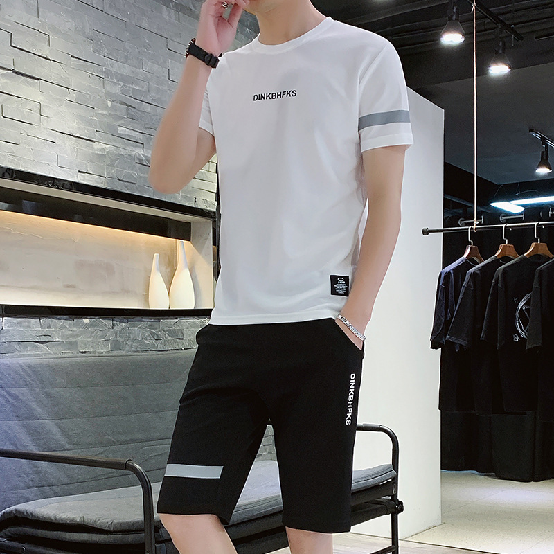 MEN'S Wear Summer Breathable Men Sports Leisure Suit Men's Summer Teenager Fashion Shorts Short Sleeve T-shirt Two-Piece Set