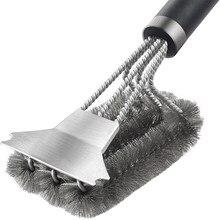 Churrasqueira grill escova de limpeza para churrasco escova de aço inoxidável 3 em 1 churrasqueira grill escovas para churrasco ferramenta limpa cozinhar acessórios