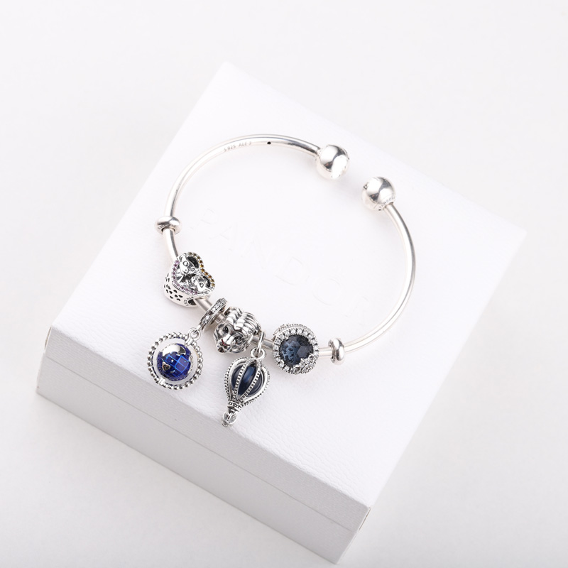 High Quality Original 1:1 100%925 Sterling Silver Blue Planet Lion Headband With An Opening Bracelet Free Shipping