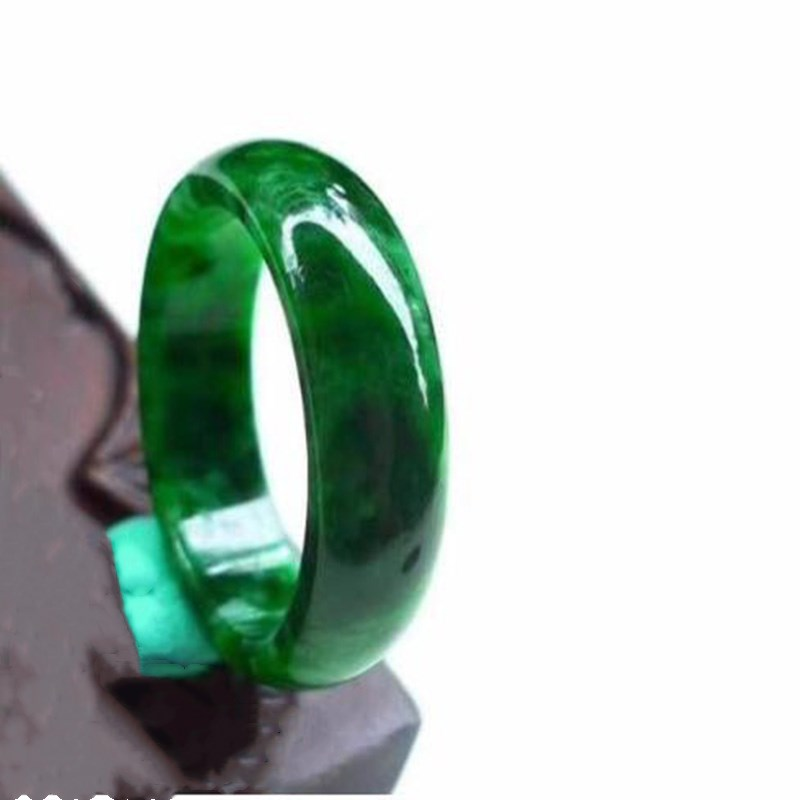 Jade Ring Natural Burmese Jade Dark Green Ring Jewelry Fine Jewelry Men's  and Women's Lucky Charms Green Ring  Jewelry
