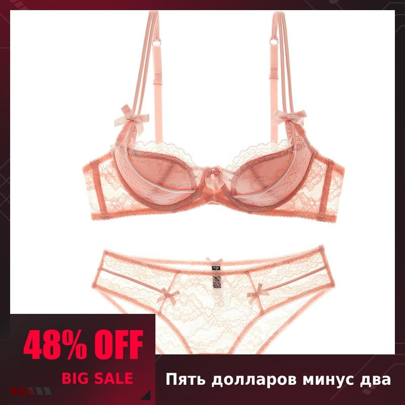 Shaonvmeiwu Red Benmingnian European And American Sexy Thin Cup Lace Complete Set Underwear Bra Set Gathered Thin Bra Women