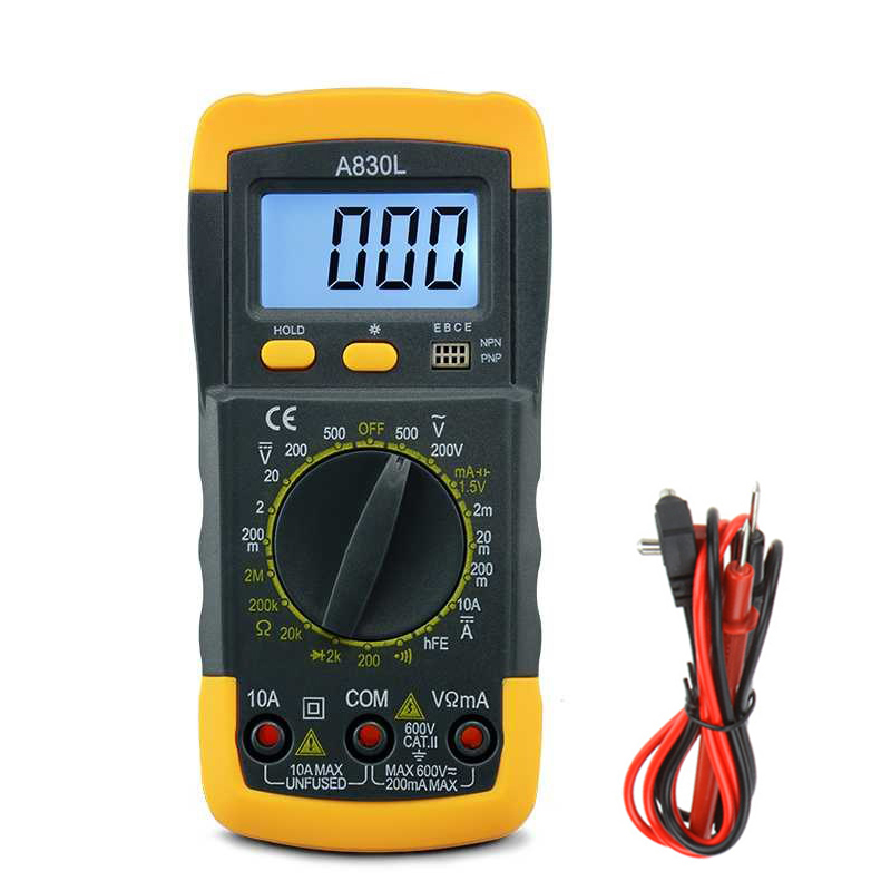 A830L Mini Multimeter LCD Digital Multimetro Volt Amp Ohm Tester Meter Voltmeter Ammeter Backlight Overload Protect With Probe