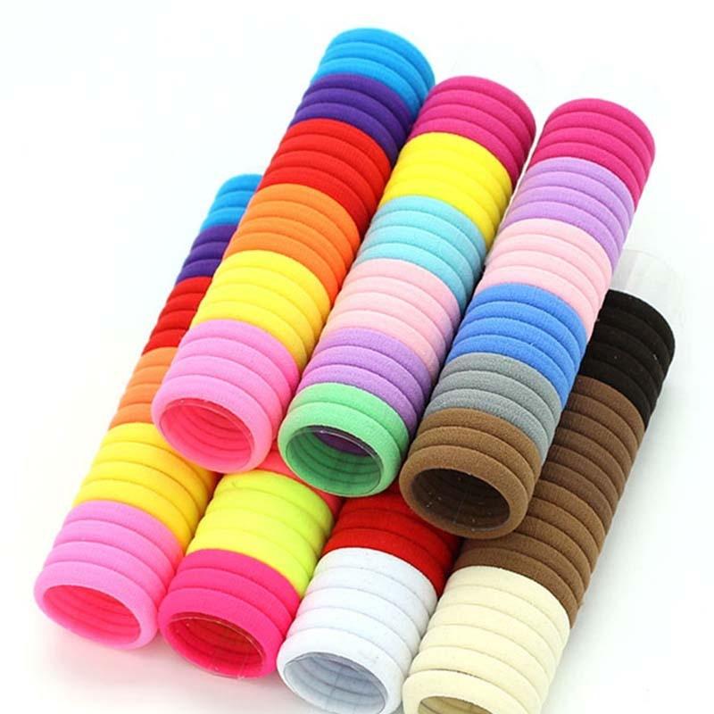 50pcs/Lot Girls Cute Colorful Nylon Elastic Hair Bands Ponytail Holder Scrunchie Rubber Bands Tie Gum Fashion Hair Accessories