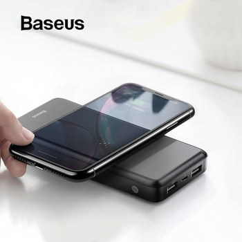 Baseus cargador inalámbrico Qi de 10000mAh para iPhone 11 Pro Max Samsung Huawei Powerbank batería externa de carga Dual USB