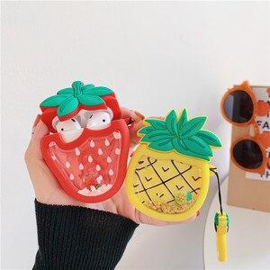 Image 2 - С подвижными блестками Симпатичные Фрукты авокадо клубника, ананас, гарнитура чехол для Apple Airpods 1/2 Силиконовая защита для наушников