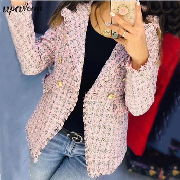 Winter New Double-Breasted Jacket Female 2019 Women'S Notched Collar Long-Sleeved Plaid Slim Coat Fashion Sexy Party Coat spring 2019 new euro american style slimming coat suit women jacket women coat button notched double breasted plaid