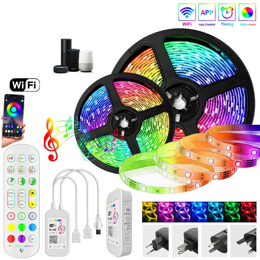 Bluetooth/WI-FI Светодиодные ленты светильник s RGB 2835/5050 SMD гибкая лента Водонепроницаемый RGB светодиодный светильник 5 м 10 м клейкие диода AC/DC 12V Упра...