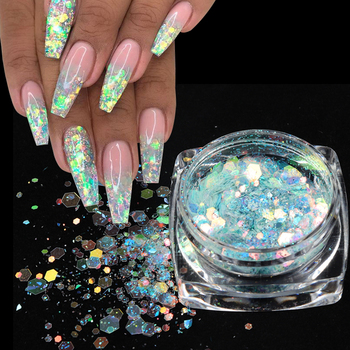 Sparkly  Hexagon 3D Sequins Colorful Nail Art Glitter Nail Mermaid Glitter Flakes Polish Manicure Nail Accessories 10ml jar mix color nail art glitter powder holo gold hexagon aurora nail flakes sequins for a manicure nail art decorations new
