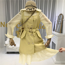 Fashion 2019 Fall Designer Shirt Dress+tank Dress 2 Piece Sets Womens Outfits  Turn-down Collar Double Breasted High Street