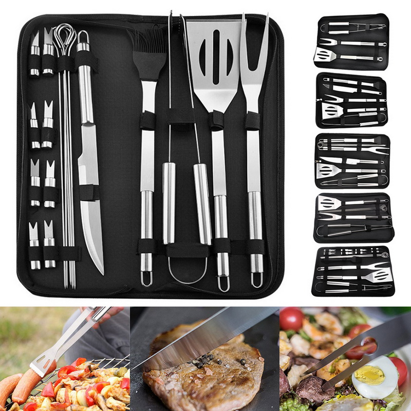 18pcs Stainless Steel Bbq Tools Set Barbecue Grilling Utensil