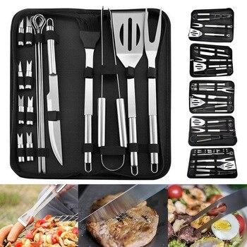 18Pcs in Acciaio Inox Barbecue Strumenti Set Barbecue Grigliate Utensile Accessori Strumenti di Cottura di Campeggio Esterna Kit Barbecue Utensili