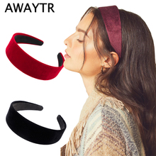 AWAYTR Simple 2021 Velvet Hairbands Solid Color Fashion Bridal Headbands Elastic Hair Band Large Intestine Elegant Hair Accessor