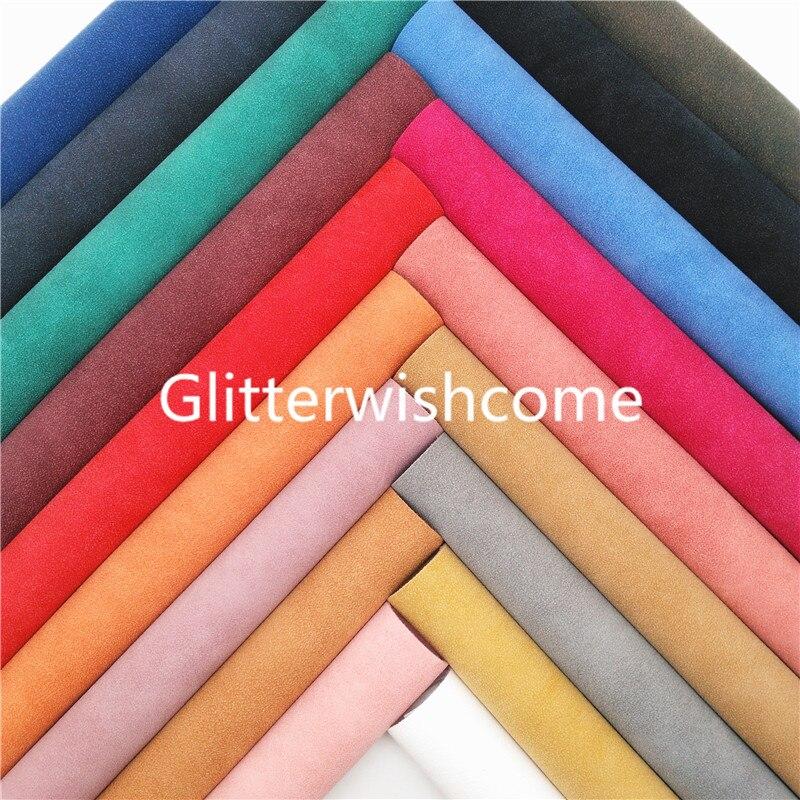 Ткань Glitterwishcome 21x29 см, Размер A4, двухцветная замшевая искусственная кожа, синтетическая кожа с мягкой фетровой подкладкой для бантов, GM970A