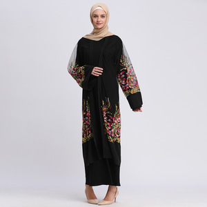 Fashion Abaya Embroidered Mesh , Tassel Waistband Mesh Robe