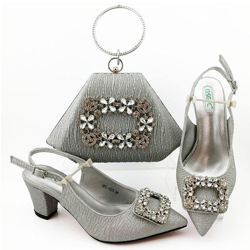 Italian shoes and bag matching set lady sandal shoes clutches bag new year shoes and bag set in silver free ship SB8473-4
