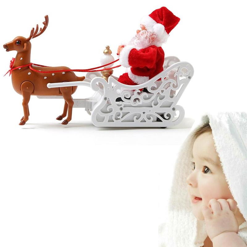 Electric Santa Claus Toys Merry Christmas Music Deer Cart Dolls Without Battery Children Doll Kids Gift Creative Toy