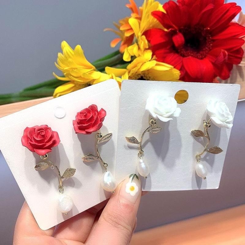 Barok inci gül çiçek küpe kadınlar için 2020 yeni takı yaratıcı beyaz kırmızı Pendientes toptan hediyeler