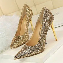 цена на Women's shoes High-heeled Shallow mouth Pointed Sparkle sequins Sexy Thin high-heeled Banquet shoes Wedding bride Bridesmaid