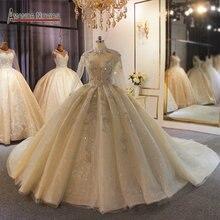فستان زفاف فاخر دبي بأكمام طويلة منتفخ الكرة ثوب مع قطار طويل مخصص ثوب زفاف